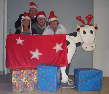 Christmas Olympics reindeer milking